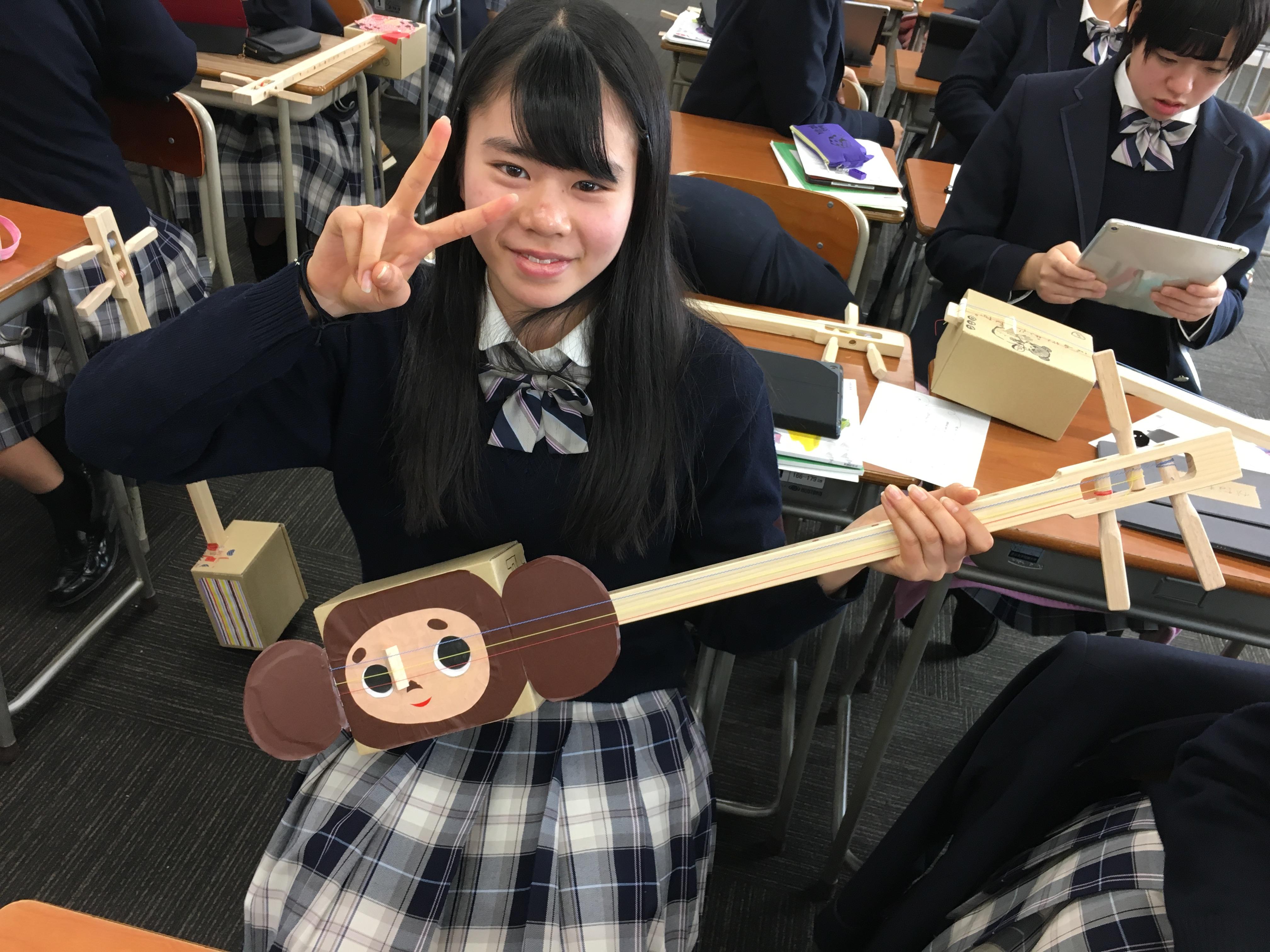富山国際大学付属高校で三味線授業